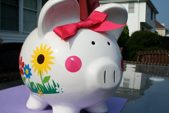 Vinyl Personalized Custom Ceramic Piggy Bank Large Size Monogram Name Initial Baby Shower Child Gift
