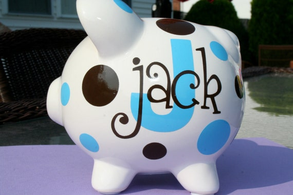 Vinyl Personalized Custom Ceramic Piggy Bank Small Size Monogram Name Initial Baby Shower Child Gift