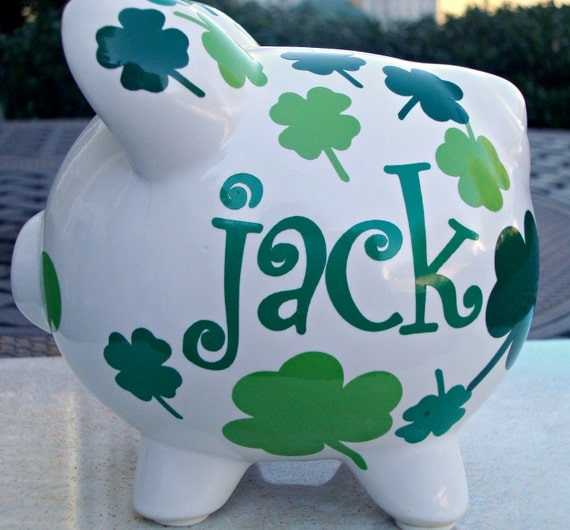 Vinyl Personalized Piggy Bank Custom Piggy Bank Shamrock Piggy Bank Small Size Monogram Name Initial Baby Shower Child Gift