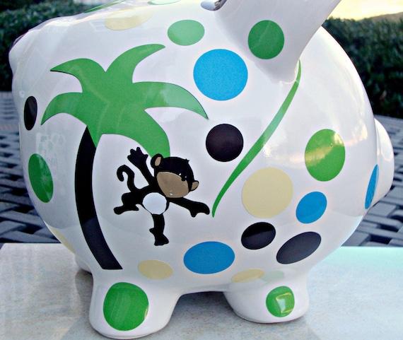 Vinyl Personalized Piggy Bank Custom Piggy Bank Large Size Monogram Name Initial Baby Shower Child Gift