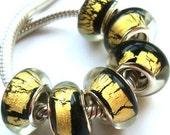 Black with Gold Foil  Murano Glass Beads fits European Style Charm Bracelets  European Charm Bracelets