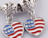 American Flag Heart with Rhinestones Charm Dangle  Bead Spacer Fits  European Charm Bracelets