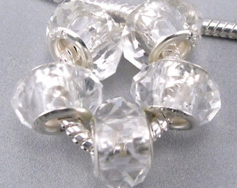 Faceted Glass Beads fit European Charm Bracelets