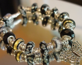Black with A Touch of Gold European Style Murano Glass Bead  Charm Bracelet