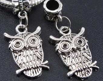 Owl Charm Dangle  Bead Spacer Euro European Charm Bracelets