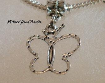 Butterfly Charm Dangle Bead  Spacer Fits European Bracelets