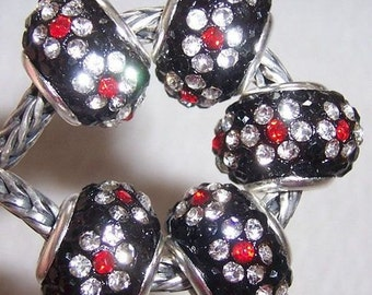 Black, Clear and Red CZ Crystals Beads fits European Charm Bracelet