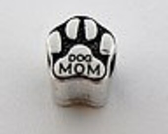Dog Mom Paw Antiqued  Silver Plated Spacer Beads Fit  European Charm Bracelet