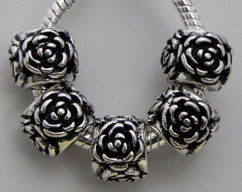 Rose Flower Antiqued  Silver Plated Spacer Beads Fit  European  Charm Bracelet  104