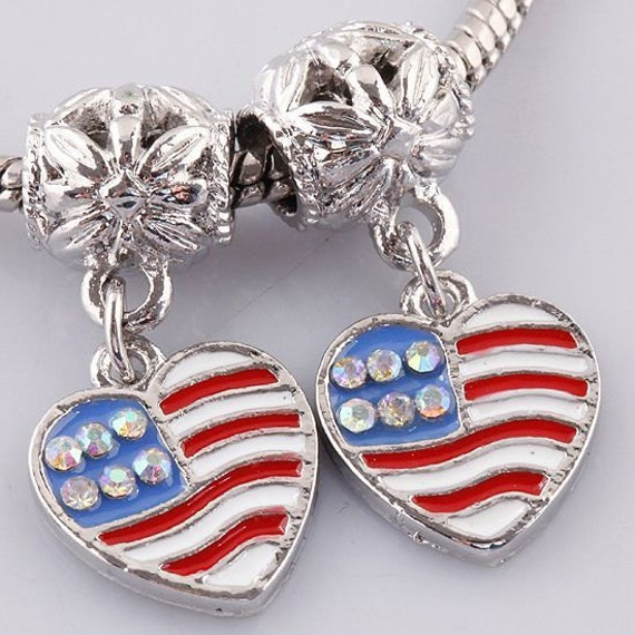 American Flag Heart with Rhinestones Charm Dangle  Bead Spacer Fits  European Charm Bracelets