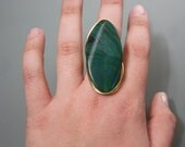 Jade Stone on Gold Copper Wire Wrapped Ring