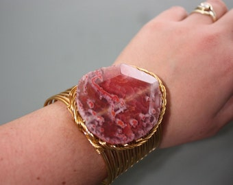 Rose Quartz Stone on Gold Copper Wire Wrapped Cuff Bracelet