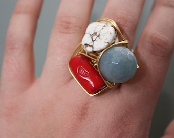 White Turquoise, Red Coral and Aquamarine Stones on Gold Copper Wire Wrapped Ring