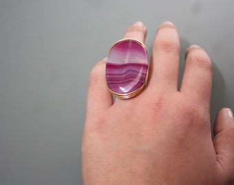 Purple Agate Stone on Gold Copper Wire Wrapped Ring
