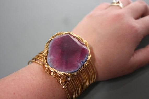 Raw Amethyst Stone on Copper Wire Wrapped Cuff Bracelet