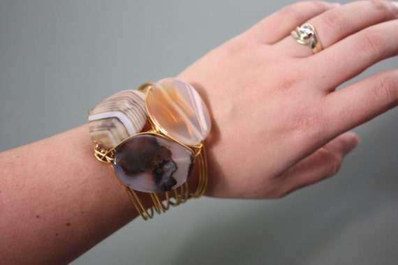 3 Agate Stone on Gold Copper Wire Wrapped Cuff Bracelet - BROWN