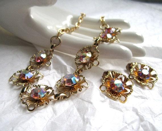 1950's Rhinestone Necklace Earrings demi aurora borealis
