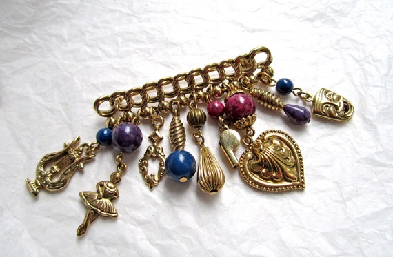 Vintage Brooch with dangly charms beads