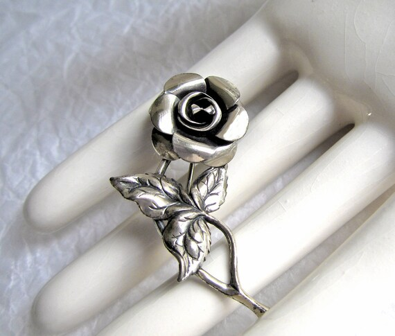 1940's Sterling Pin Brooch Rose signed Beau