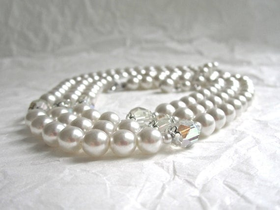1950's three strand Pearl Necklace Japan crystals