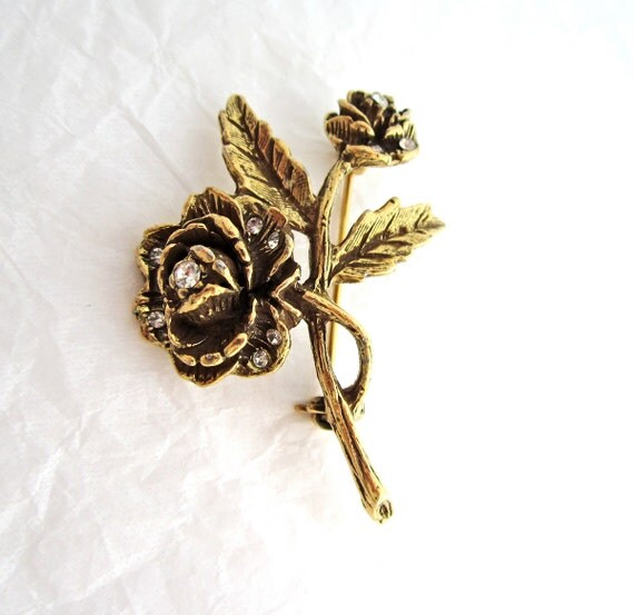1960's Goldette Rhinestone Rose Floral Pin Brooch