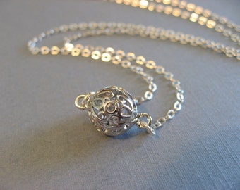 Pretty Ball Necklace, Delicate Silver Choker