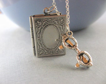 The Reader, Book Locket with reading glasses in silver Great for book lovers and teachers