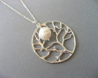 Tree of Life Necklace with Featuring a Pearl Coin