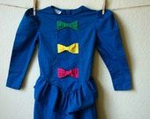 Electric Blue Girl's Dress with Bows Vintage  FREE SHIPPING