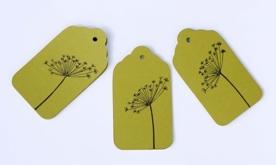 25 Dandelion Hang Tags Flower Gift Tags Party Favors