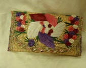 Vintage Straw and Rafia Island Souvenir Clutch