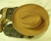 Vintage Leather Cowboy Hat Buckskin Color X-Large