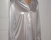 Vintage 90s Futuristic Cyber Rave Metallic Liquid Silver Shirt / Silver Holographic Blouse / Size M