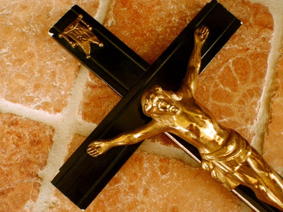 Vintage Large Brass Crucifix/ Black Painted Wood and Brass Wall Crucifix