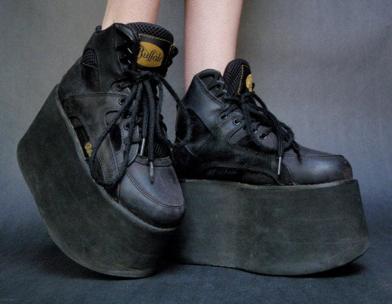90s Black Buffalo Tower Monster Mega Platform Sneakers Spice Girls Goth Cyber Rave 38