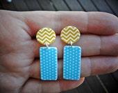 Beach Days Earrings  - Graphic Geometric Shrink Drop Earrings - Baby Blue Polka Dot Yellow Chevron