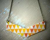 Tri-Scale Geo Chevron Necklace - Geometric Shrink Pendant with Antique Brass Chain - Yellow, Sunny Orange, Cream