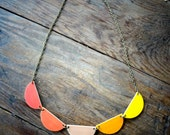 Scallop Bunting Necklace - Graduated Burnt Orange Beige and Yellow