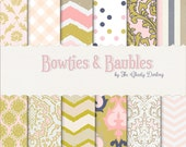 Digital Paper 12 Pack : Bowties and Baubles (  Pink/Navy/Gold  hand drawn chevron series   )