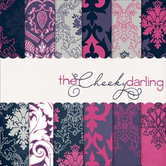 "Digital Paper Pack :  "" pretty little thing""  pink / violet / navy damask"