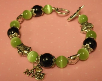 I Love My Cat Charm Bracelet Green and Black