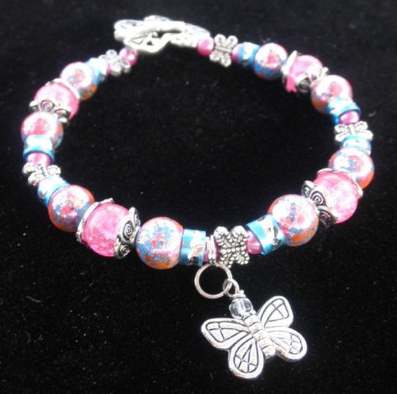 Butterfly Graffiti Charm Bracelet Pink and Blue