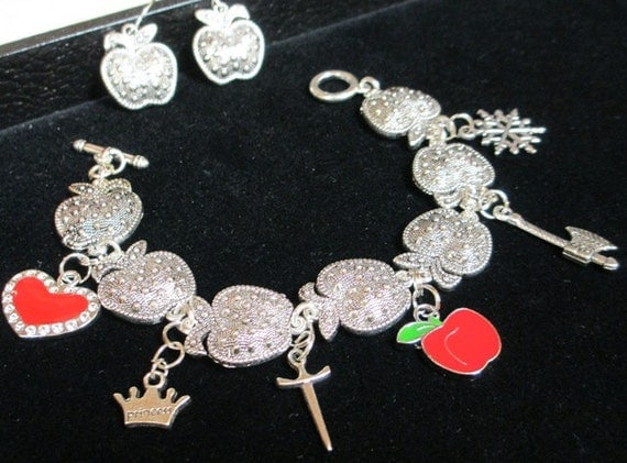 Snow White and the Huntsman Charm Bracelet and Ear Rings