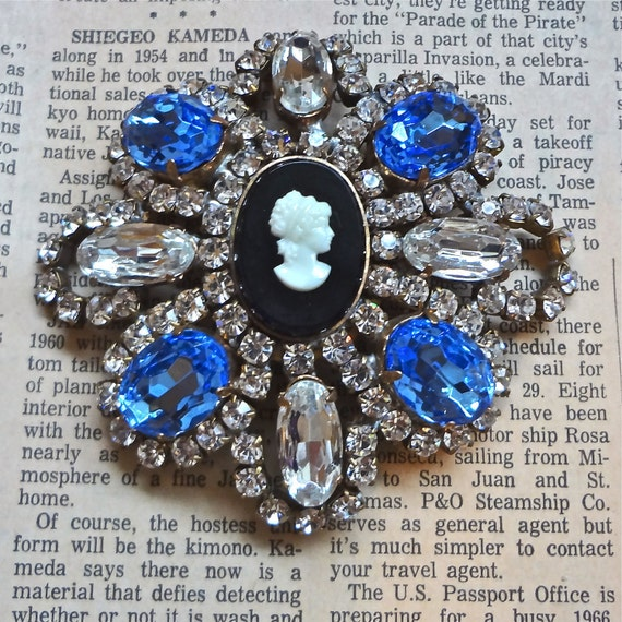 Czech Brooch Cameo blue and clear glass rhinestones // Bridal Jewelry // Statement // Mid Century // Assemblage // Signed