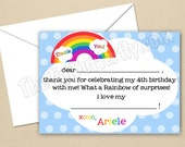 Rainbow Party - CUSTOM Thank You Cards - DIY Party Printables - Digital Download and Print