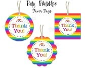 "Rainbow Party - Thank You Favor Tags - 2"" Party Circles  - DIY Party Printables - INSTANT DOWNLOAD and Print"