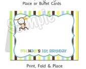 Monkey Boy Party - Personalized Place or Buffet Cards - DIY Party Printables - Digital Download and Print