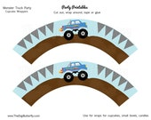 Monster Truck Party - Cupcake Wrappers - DIY Party Printables - INSTANT DOWNLOAD and Print