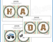 """Monster Truck Party - """"HAPPY BIRTHDAY"""" Banner -DIY Party Printables - Instant Download and Print"""