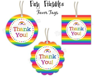 """Rainbow Party - Thank You Favor Tags - 2"""" Party Circles  - DIY Party Printables - INSTANT DOWNLOAD and Print"""